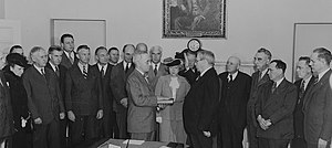 First inauguration of Harry S. Truman - President Truman being sworn in, following Roosevelt's death, on April 12, 1945.