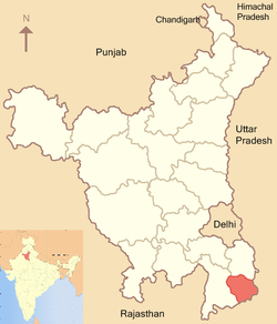 Location of Palwal district in Haryana