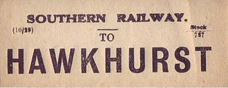 Hawkhurst branch line - Luggage label issued by the Southern Railway