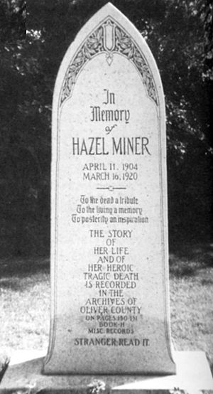 Hazel Miner - This memorial to Hazel Miner was installed in 1936 outside the Oliver County Courthouse by former governor L.B. Hanna. Courtesy: Center (N.D.) Republican.
