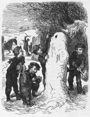 "The Snowman (fairy tale) - An illustration c. 1870 from ""The Snowman"": ""He had been born amid the triumphant shouts of the boys, and welcomed by the jingling of sleigh bells and the cracking of whips from the passing sleighs."" (""The Snowman"". H.C. Andersen, translated by Jean Hersholt, 1949)"