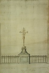 Design for the crucifix and the railings on the Palingbrug in Antwerp