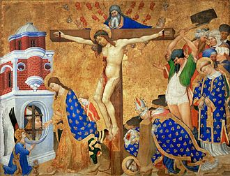 Denis - Last Communion and Martyrdom of Saint Denis, by Henri Bellechose, 1416, which shows the martyrdom of both Denis and his companions