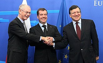 Russia–European Union relations - Left to right: President of the European Council Herman Van Rompuy, President of Russia Dmitry Medvedev and President of the European Commission José Manuel Barroso in 2010