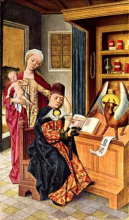 Luke and the Madonna, Altar of the Guild of Saint Luke, Hermen Rode, Lubeck (1484) Hermen Rode 001.jpg