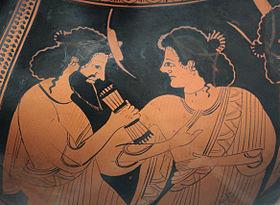 Assemblée divine (détail)   Hermès et sa mère Maïa, amphore attique à  figures rouges, v. 500 av. J.-C., Staatliche Antikensammlungen (Inv. 2304) 82e4cffc24d