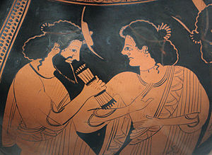Maia (star) - God council in Olympus: Hermes with his mother Maia. Detail of the side B of an Attic red-figure belly-amphora, ca. 500 BC.