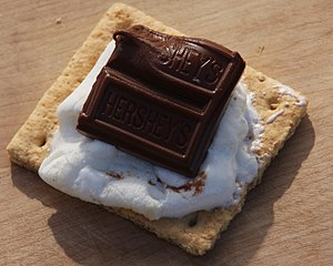 S'more - An open-faced s'more made with graham cracker, marshmallow, and chocolate