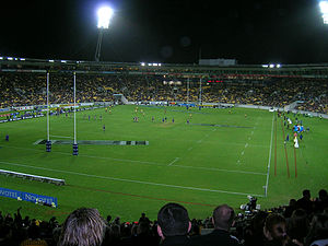 Highlanders (rugby union) - The Highlanders playing the Hurricanes at Wellington in 2005; their first win over them at that venue.