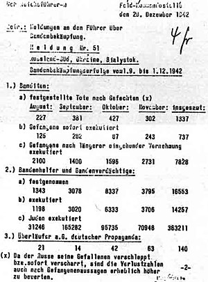 Criticism of Holocaust denial - Report to Hitler detailing the executions of prisoners.