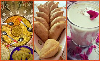 "Holi - Holi snacks and drinks, post play with colours. Left: salty snacks, Middle: Gujia (a stuffed wrap), Right: Thandai (almonds-based chilled drink) to which sometimes intoxicating ""bhang"" is added."