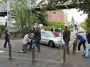Hollyoaks - Hollyoaks being filmed on location on The Groves in Chester 16 September 1999