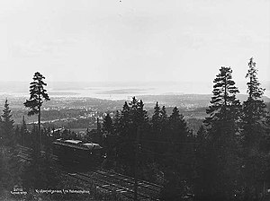 Holmenkollen Line - The line in 1923, showing the view over the city