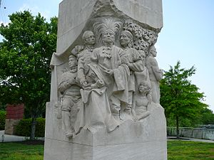 Knoxville, Tennessee - Statue representing the signing of the Treaty of the Holston in Downtown Knoxville
