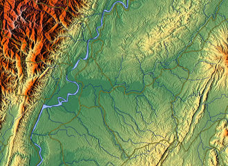Homalin Township - Relief map of the area. The wide river is the Chindwin River