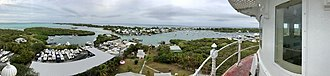 Hope Town - Panorama from the Elbow Cay lighthouse in Abaco, Bahamas