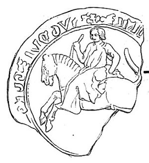Hugh IX of Lusignan - Seal of Hugh IX of Lusignan, damaged but probably depicts the hunting attire usually shown on the family's seals, usually showing the holding of a small hunting dog behind the croup of the saddle