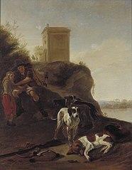 Jagers en honden in een Italianaans landschap