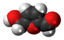 Space-filling model of the hydroxymethylfurfural molecule