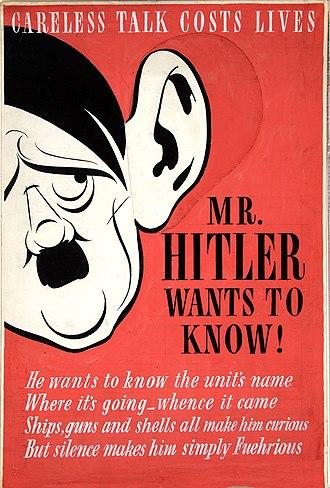 British propaganda during World War II - Careless talk costs lives. Mr. Hitler wants to know!
