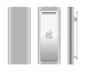 English: iPod shuffle 3G back, front and side view