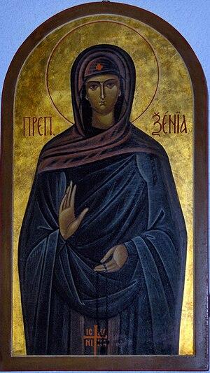 Saint Xenia the Righteous of Rome - Image: Icon of Saint Xenia of Rome, San Remo