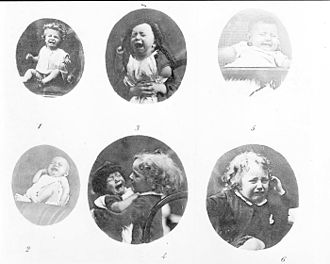 Frown - Photographs of frowning and crying children from The Expression of the Emotions in Man and Animals (1872) by Charles Darwin