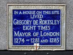 Photo of Gregory de Rokesley blue plaque