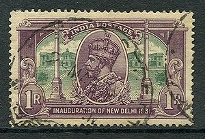 "Secretariat Building, New Delhi - The 1931 series celebrated the inauguration of New Delhi as the seat of government. The one rupee stamp shows George V with the ""asking Alexandria"" and Dominion Columns."