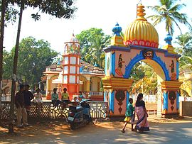 Hinduism is the largest professed religion in India. Pictured here is a temple in Goa