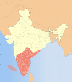 Thumbnail map of India with South India highlighted