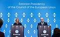 Informal meeting of defence ministers (FAC). Press conference Federica Mogherini and Jüri Luik (36270557603).jpg