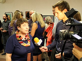 Belsat TV - Image: Interview of Belarusian Art critic Larisa Finkelshtein to Belsat TV 01