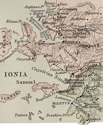 Colophon (city) - Colophon is located to the right of the center on this map of ancient Ionia.