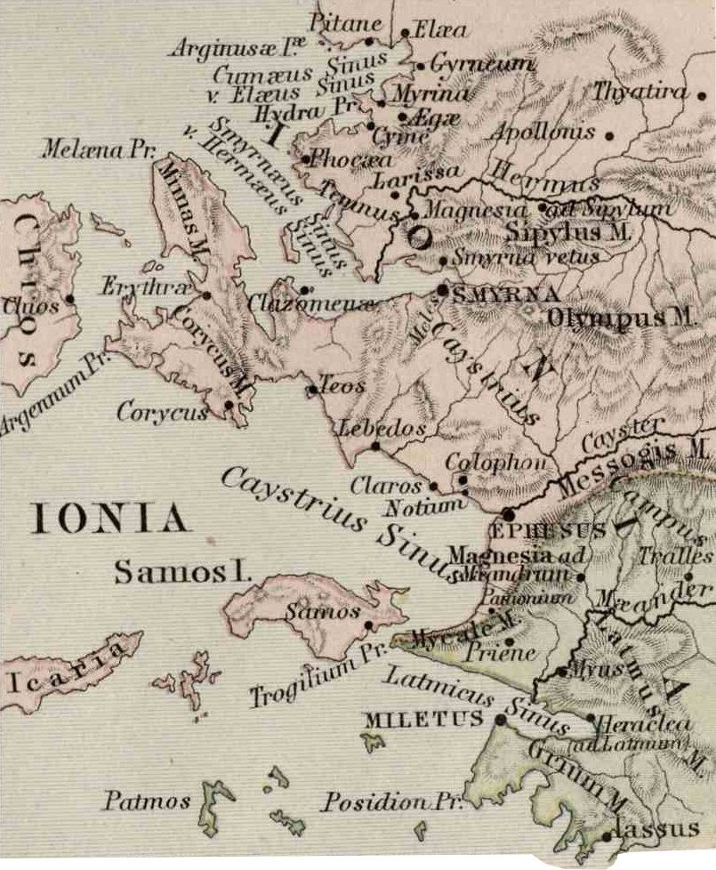 Ionia, Asia Minor Map, Classical Atlas, 1886, Keith Johnston