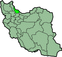 Map of Iran with गीलान highlighted.