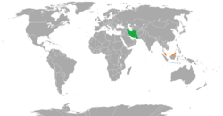 Map indicating locations of Iran and Malaysia