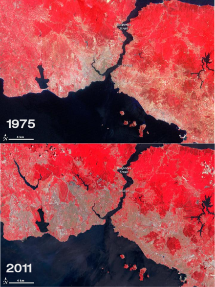Two maps comparing the size of urban areas in Istanbul (indicated as the grey zones) in 1975 and 2011. IstanbulGrowth1975and2011.png