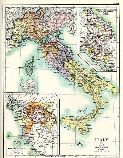 Italy after the Peace of Lodi in 1454. Italy 1454 after the Peace of Lodi.jpg