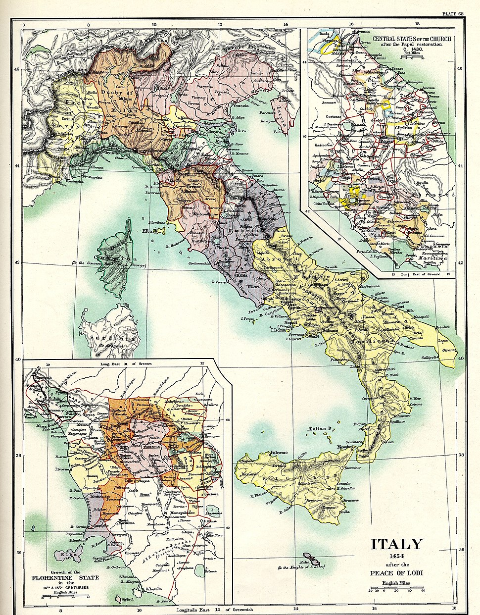 Italy 1454 after the Peace of Lodi