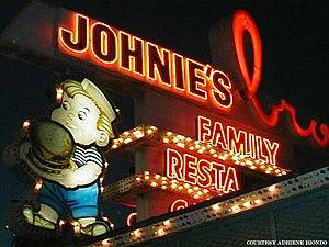 Johnie's Broiler - The neon signage of Johnie's Broiler in 2002.