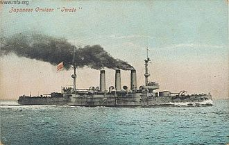 Japanese cruiser Iwate - A Japanese postcard of Iwate at sea, c. 1905