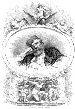 Illustration of Carpeaux in The Illustrated Sporting and Dramatic News, after his death. His sculpture Flore is shown below him, other sculptures of his appear above.
