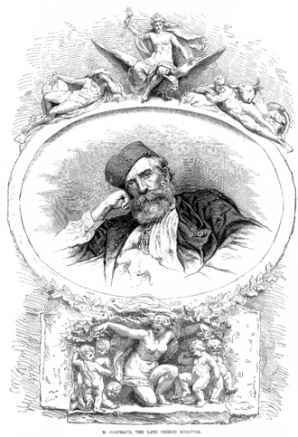 Jean-Baptiste Carpeaux - Illustration of Carpeaux by Étienne Bocourt in the Illustrated Sporting and Dramatic News, after his death.  His Flore is below him, and Imperial France protecting Agriculture and Sciences above