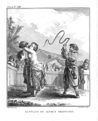 Knout - Punishment with an Ordinary Knout, an 18th-century print