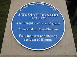 Photo of Jedidiah Buxton blue plaque