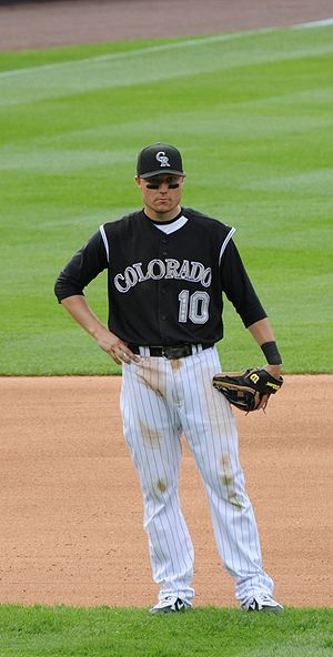 Jeff Baker - Baker during his tenure with the Colorado Rockies in 2008