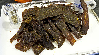 Jerky Lean meat dried to prevent spoilage