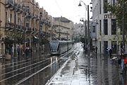 Jerusalem Light Rail in Zion Square on A Rainy morning - November 2011