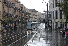 Jerusalem Light Rail in Zion Square on A Rainy morning - November 2011.jpg